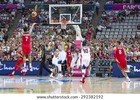 BARCELONA, SPAIN - SEPTEMBER 6: Some players in action at FIBA World Cup basketball match between USA and Mexico, final score 86-63, on September 6, 2014, in Barcelona, Spain. - stock photo