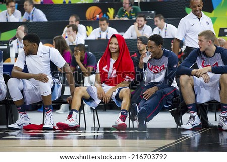 BARCELONA, SPAIN - SEPTEMBER 11: Stephen Curry of USA (middle) at FIBA World Cup basketball match between USA Team and Lithuania, final score 96-68, on September 11, 2014, in Barcelona, Spain. - stock photo