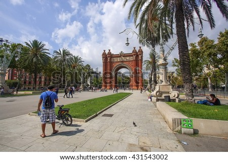 BARCELONA, SPAIN - SEPTEMBER 05, 2015: The Arch of Triumph is a memorial arch built in the Neo-Mudejar style as main access gate for the 1888 Barcelona World Fair.