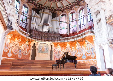 BARCELONA, SPAIN - SEPTEMBER 19; Unique modernist concert hall declared World Heritage building UNESCO Palau de la Musica Catalana, or Palace of Music September 19, 2016,Barcelona, Spain
