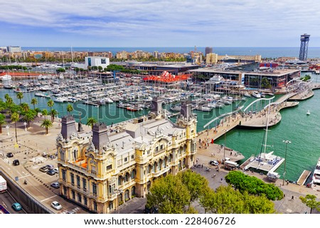 "BARCELONA, SPAIN - SEPTEMBER 03: View of the embankment of Barcelona and the bridge ""Sea Rambla""  in September 03, 2014 in Barcelona, Catallonia, Spain. The most popular place to walk for tourists. - stock photo"