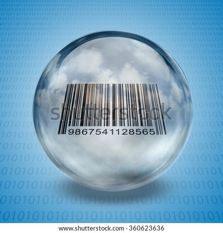 Barcode enclosed in glass sphere - stock photo