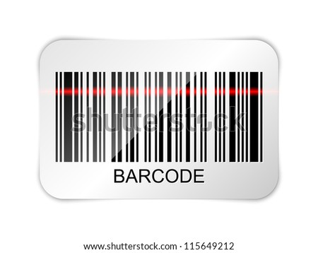 Barcode icon with red laser beam - stock photo