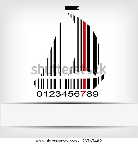 Barcode image with red strip - vector version in portfolio