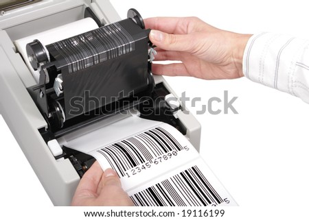 barcode label printer, isolated on white