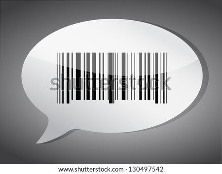 Barcode label speech bubble illustration design over a dark background