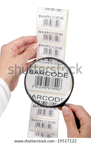 barcode labels ribbon, isolated on white - stock photo