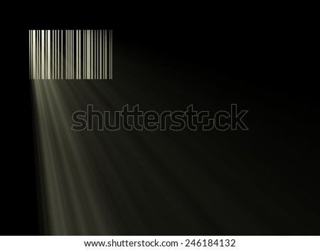 barcode like a window of prison with passing light, 3d illustration - stock photo