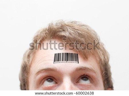 Barcode on forehead - stock photo