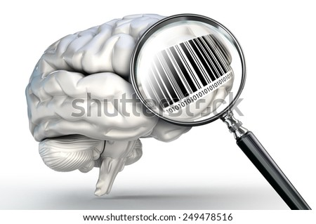 barcode on magnifying glass and human brain on white background - stock photo