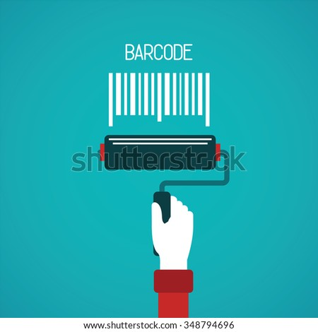 Barcode painting bitmap concept in flat style