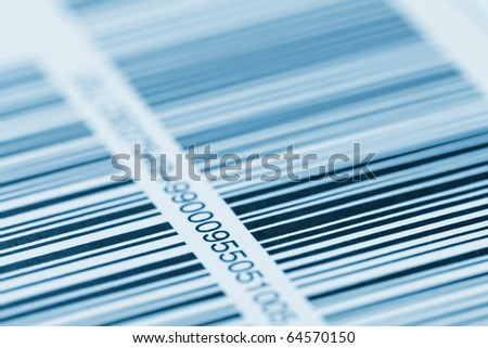 barcode printed on a label - stock photo