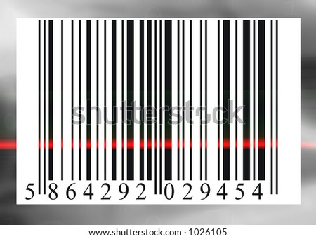 barcode scanned by barcode reader, an illustration of buying & selling (c)