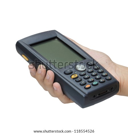 Barcode scanner operated on PocketPC - stock photo