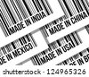 barcode, trade war, business concept illustration design over white - stock photo