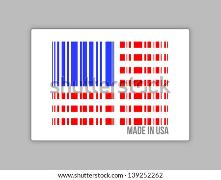 Barcode USA. Made in usa illustration design over white - stock photo