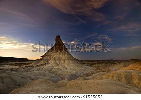 Bardenas Reales desert (Navarra,Spain) - stock photo