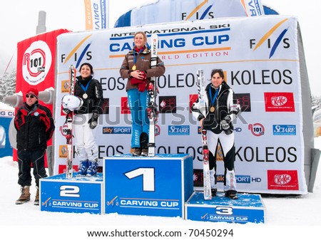 BARDONECCHIA - JANUARY 30: podium skiers, 1 Melanie Burgener(Switzerland), 2 Martina Giunti(Italy), 3 Stefania Burba(Italy), FIS Speed Carving World Challenge january 30, 2011 in Bardonecchia, Italy