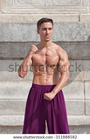 Bare chested muscled martial arts master practicing at Temple of Heaven, Beijing, China