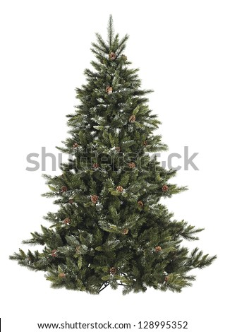 Bare Christmas tree with pine cone