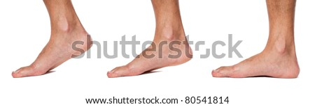 Bare foot walking sequence up close - stock photo