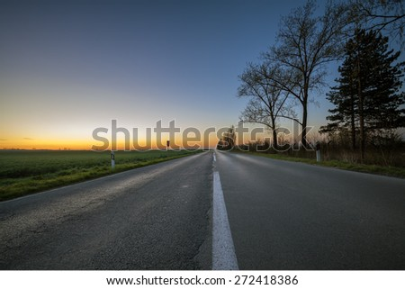 Bare trees by the long empty road at sunset - stock photo