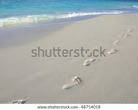 Barefoot trekking - stock photo