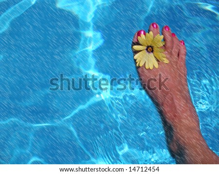 barefoot with daisy in pool and rain