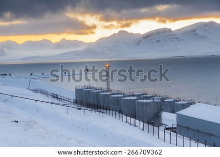 Barentsburg port  - Russian village on Spitsbergen, Norway. - stock photo