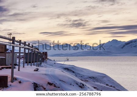 Barentsburg - Russian village on Spitsbergen, Norway. - stock photo