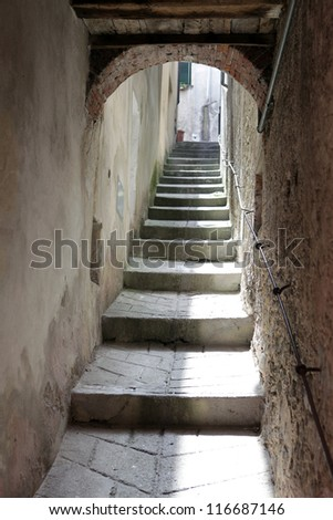 Barga a medieval hilltop town in Tuscany.Italy - stock photo