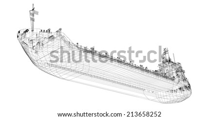 barge Cargo  model body structure, wire model - stock photo