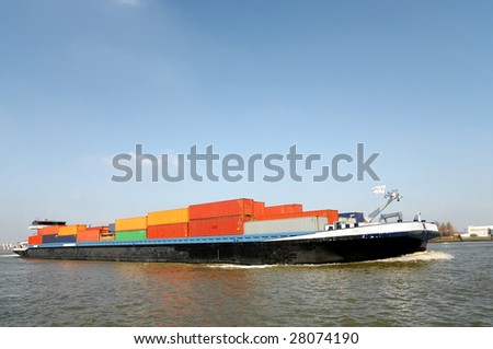 Barge / Container ship - stock photo