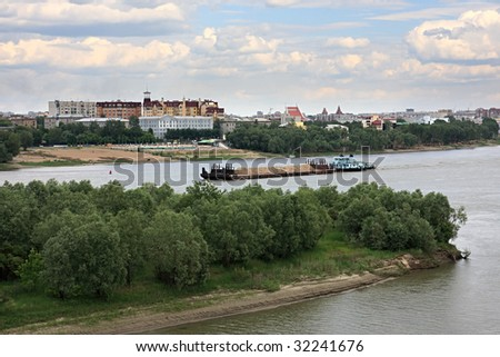 Barge on the river Irtysh. Omsk. Russia.