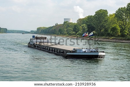 Barge transportation on the River Rhine - stock photo