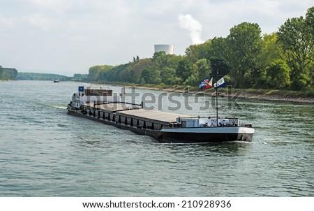 Barge transportation on the River Rhine - stock photo