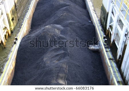Barge with coal - stock photo