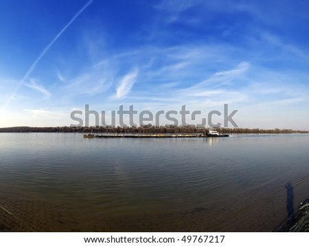 Barges on river - stock photo