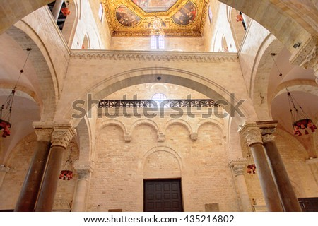 BARI, ITALY - MAY 9, 2016: Interior of Basilica di San Nicola (Basilica of Saint Nicholas). It is a pilgrimage destination for Roman Catholics and Orthodox Christians from Eastern Europe