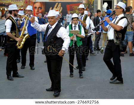 Bari, Italy. May 9, 2015: Street musicians in Corso Vittorio Emanuele during the festival of Saint Nicholas - stock photo