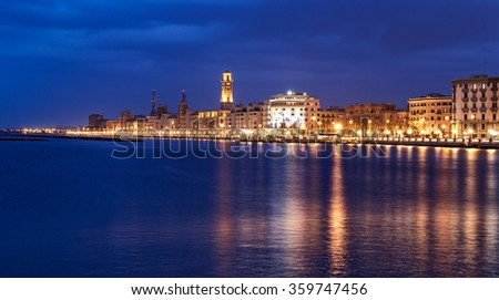 Bari night cityscape and  seafront. city lights at evening - stock photo