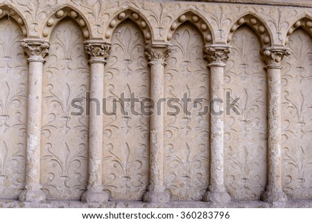 Barilefy and architectural elements arches,Cathedral Notre-Dame de Paris - Built in French Gothic architecture
