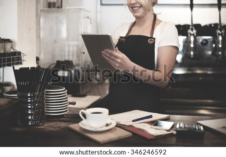Barista Cafe Coffee Shop Owner Service Concept - stock photo