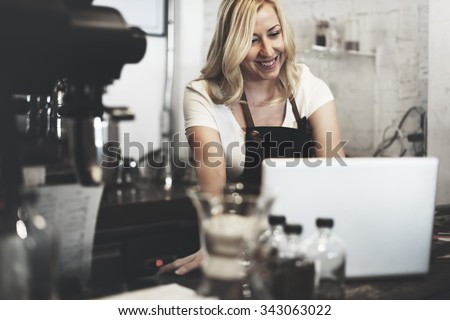 Barista Cafe Making Coffee Preparation Service Concept - stock photo