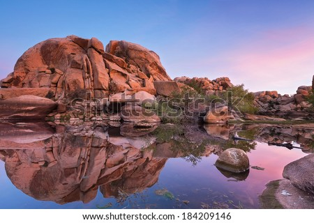 Barker Dam (Joshua Tree National Park) at sunrise - stock photo
