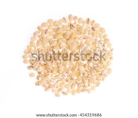 Barley rice isolated on white background - stock photo