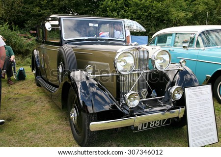 BARLOW, DERBYSHIRE, UK. AUGUST 15, 2015.  A classic one of 37 built 1935 Talbot AZ95 limousine on display at the village carnival at Baslow in Derbyshire, UK. - stock photo