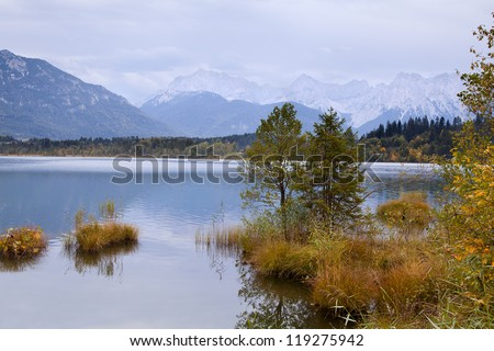 Barmsee and Bavarian Alps on background in autumn