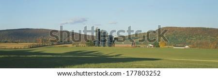 Barn and Silos, Dutchess County, New York - stock photo