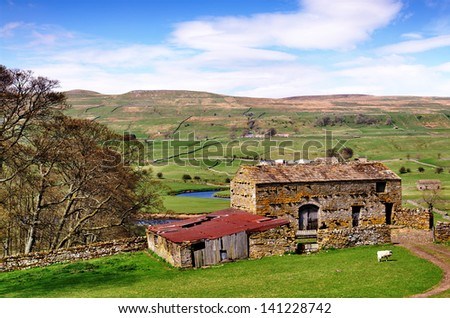 Barn and trees in the Yorkshire Dales - stock photo